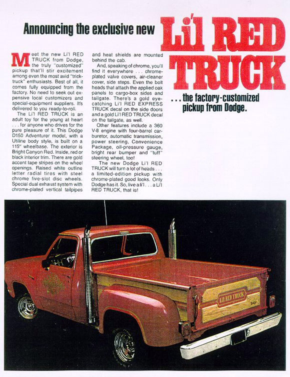 1978 Dodge Lil Red Express Truck Flyer