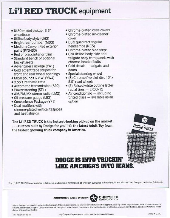 1979 Dodge Lil Red Express Truck Flyer